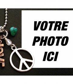 Effet photo avec le symbole de la paix et le mot amour