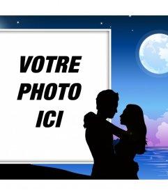 Couple romantique au clair de lune où vous pouvez mettre effet photo gratuit de votre photo de lamour à éditer avec votre image et avec un couple et une pleine lune. Effet parfait pour exprimer votre amour profond dans vos réseaux sociaux