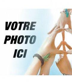 Effet photo avec les mains faisant le symbole de la paix