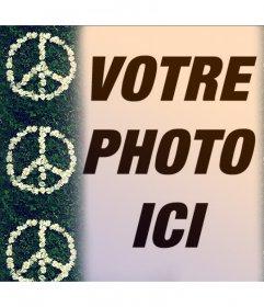 Effet photo avec le symbole de la paix avec des fleurs pour votre photo