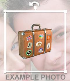 Photomontage pour coller une étiquette originale dune valise Voyage sur vos photos