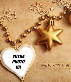 Décorations de Noël pour télécharger votre photo à lintérieur gratuit effet de décorations de Noël dor de photo dun coeur pour le téléchargement de votre photo à lintérieur dun coeur, avec le texte de Merry Christmas