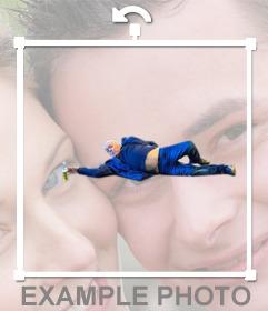 Autocollant de lhomme sur le plancher de la photo virale de lart moderne