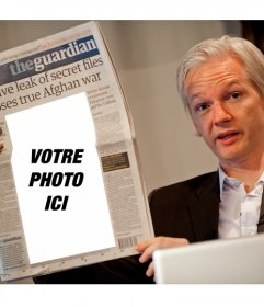Montage de mettre une photo dans un journal que vous lisez le fondateur de WikiLeaks Julian Assange
