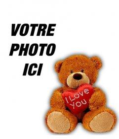 Profil photo avec un ours en peluche avec un cœur pour personnaliser votre Facebook ou votre profil Twitter