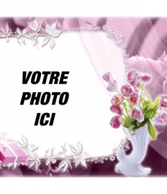 Belle cadre avec des roses pour modifier avec votre photo et pour