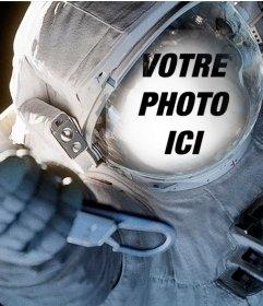 Ajustez votre visage dans une combinaison de plongée dun astronaute dans lespace
