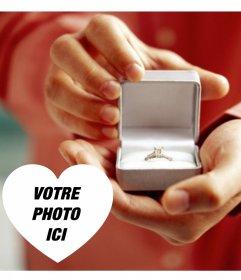 Effet photo de déclarer le mariage avec une bague de fiançailles