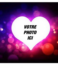 Cadre décoratif avec un coeur damour et de lumières pour votre photo