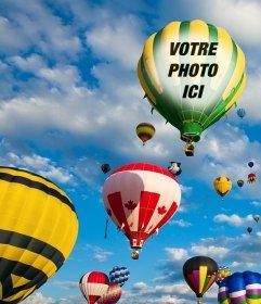 Photomontage avec des ballons colorés volant dans le ciel bleu où vous pouvez mettre une photo sur le tissu dun des ballons