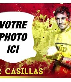 """Photomontage avec Iker Casillas et l""""Espagne fond de drapeau"""