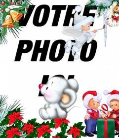 Childrens Photomontage de Noël avec des anges et des enfants