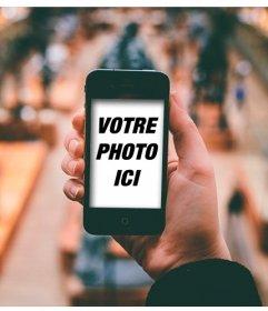 Collage de mettre votre photo sur un iPhone dans un musée