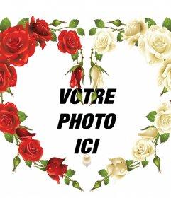 Cadre photo dun coeur avec effet décoratif roses rouges et blanches de mettre vos photos dans un cadre de cœur fait avec des roses rouges et blanches. Un bel effet à ajouter à vos photos une touche originale et gratuitement