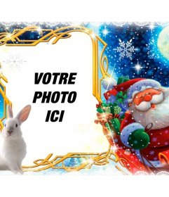 Cadre photo avec le Père Noël et son traîneau à personnaliser avec votre photo. carte postale