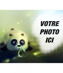 Photomontage avec un panda dessiné soufflant une bulle de savon et un trou sur le droit de mettre une photo
