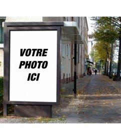 Photomontage de mettre une image comme si elle était une affiche de publicité chapiteau dans un arrêt de bus