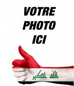 Effet photo pour ajouter à vos photos une main avec le drapeau de lIrak de Editer ce montage en ligne avec votre photo et dajouter une main avec le pouce et le drapeau de lIrak et de partager ou dutiliser limage en tant que profil cet effet pour montrer que vous aimez ou vous soutenir ce pays et est libre