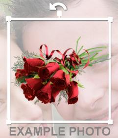 Bouquet de roses rouges pour ajouter sur vos photos comme un autocollant