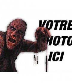 Photomontage de mettre un zombie sang rouge dans une photo et ajouter du texte en ligne