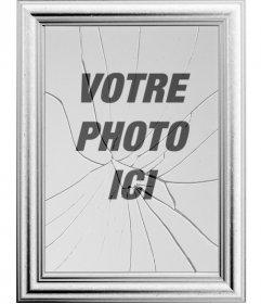 """Cadre photo numérique, votre image sera reflétée dans un miroir brisé. Peut sembler curieux effet d""""un cadre de tableau avec la vitre brisée"""