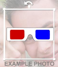 Autocollant de gafas rétro 3D rojo y azul para tus fotos