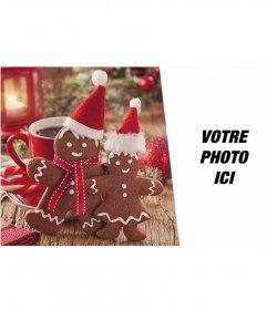 Collage de Noël pour mettre votre photo en compagnie de deux hommes en pain dépice