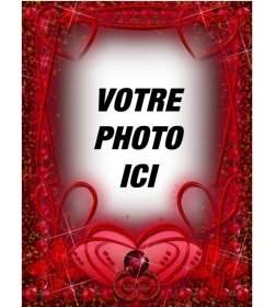 Cadre photo avec rubis coeurs rouges et accidents vasculaires cérébraux. cadre rouge