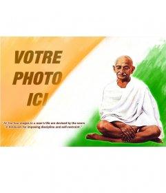 Photomontage avec Gandhi et un devis