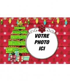 Striking carte avec un arbre et des lumières décoratives pour mettre votre photo