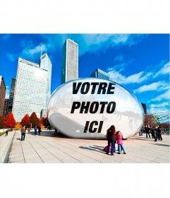 Photomontage avec votre reflet dans un statue ovale