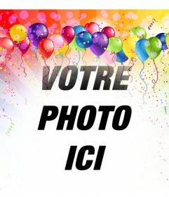 Photomontages festive avec des ballons et des couleurs pour insérer votre photo