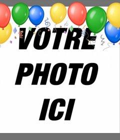 Ballons à vos photos avec ce cadre de partie à éditer en ligne