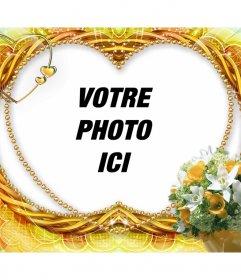 Cadre photo fleurs en forme de coeur et de décorations
