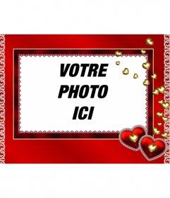 """Cadre photo de coeurs de fond or et rouge pour mettre une photo à l""""intérieur"""