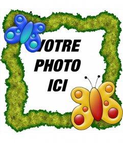 Cadre photo pour mettre une photo en ligne avec les papillons et sur fond vert