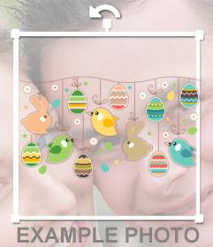 Autocollant de une couronne de Pâques pour décorer votre photo