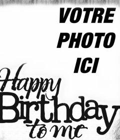 Carte vintage de joyeux anniversaire en anglais pour votre photo