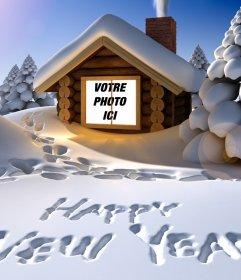 Carte originale la nouvelle année salutation écrit sur la neige avec votre photo à lintérieur dune maison de neige
