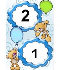 Cadre pour deux photos, ours en peluche avec des ballons