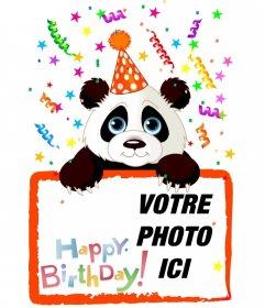Anniversaire salutation carte postale avec un panda