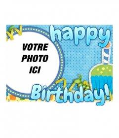 Carte postale Happy Birthday dans un cadre rond pour votre photo