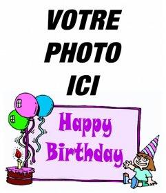 """Carte anniversaire de la fille avec les mots """"Happy Birthday"""" et un gâteau avec des ballons. Pour faire de votre photo"""