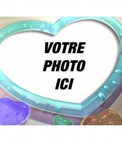 Cadre photo avec forme de coeur et couleurs coeurs