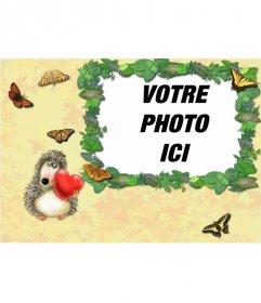 """Hérisson cadre photo aiment mettre une photo d""""un couple"""