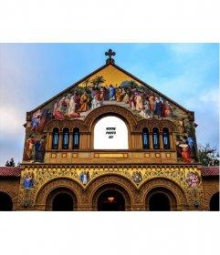 Photomontage spécial pour mettre votre photo sur la vitre dune église