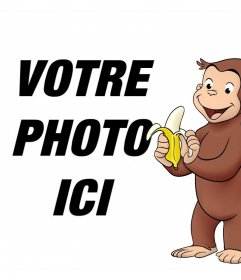 Cadre photo avec le caractère Curious George pique-niquait un effet éditable banane