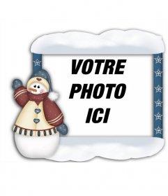 Encadrer vos photos avec bonhomme de neige de Noël, vous pouvez le faire en ligne et de mettre votre photo