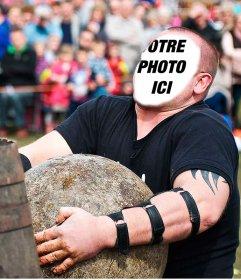 Montage photo dun homme fort basque portant le faire lever de pierre