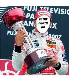 Photomontage de mettre un visage sur le champion de F1 Lewis Hamilton